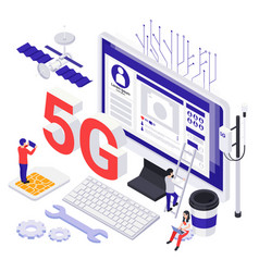 modern internet technology isometric icons vector image
