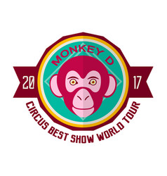 Monkey d circus best show world tour 2017 emblem vector