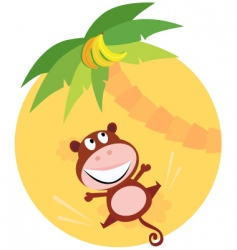 monkey trying to reach banana vector image