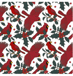 northern cardinals and holly vector image