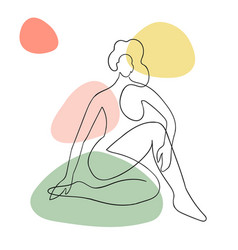 outline woman body with blob shape vector image