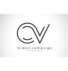 ov o v letter logo design in black colors vector image