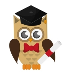 Owl cartoon with graduation cap and diploma icon vector