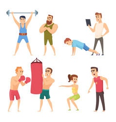 Personal trainer in gym set characters vector