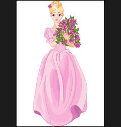 Princess holds bouquet vector