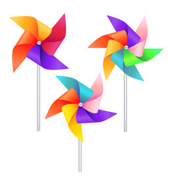 realistic detailed 3d wind mill toy set vector image