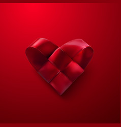 red realistic woven heart vector image