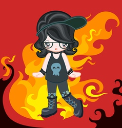 Rock style with fire vector