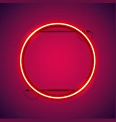 Round red neon frame vector