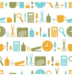 seamless background with office stationery icons vector image