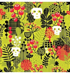 Seamless pattern with cute halloween and flowers vector