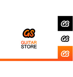 set of bector guitar store logo on different vector image