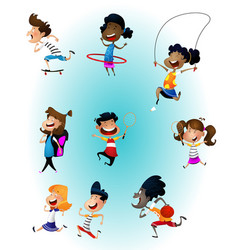 Set of multiracial children boys and girls vector