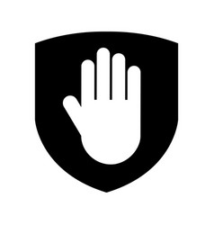 shield insurance with hand stop isolated icon vector image