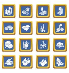 shop navigation foods icons set blue square vector image