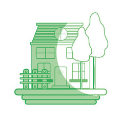 Silhouette beutiful house with grid wood vector
