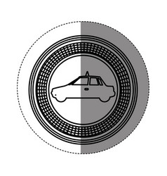 Silhouette emblem taxi side car icon vector