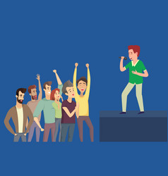 singing boy and listeners on blue side view vector image