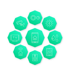 smart house line icon modern pictograms vector image