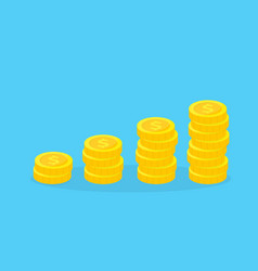 stack golden coins financial growth concept vector image