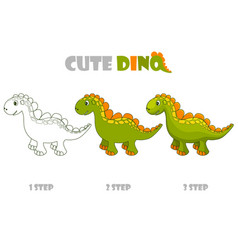 step coloring or improvement a cute vector image