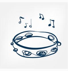 Tambourine sketch line design music instrument vector
