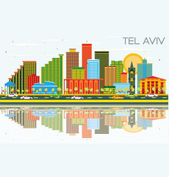 Tel aviv israel city skyline with color buildings vector