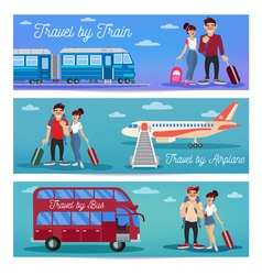 Travel Banners with Tourists and Transportation vector image