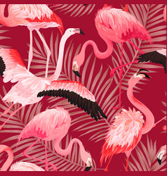 tropical flamingo bird seamless summer pattern vector image
