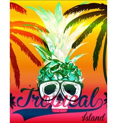 Tropical skull tee graphic design vector