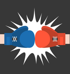 Two boxing glove strike flat design vector
