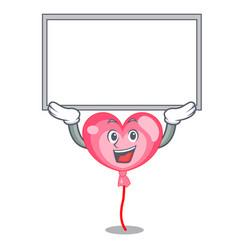 Up board ballon heart character cartoon vector