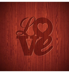 Valentines Day with engraved Love vector image