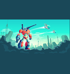 War with alien robots cartoon concept vector