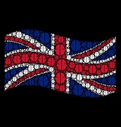 waving uk flag mosaic of dual face icons vector image