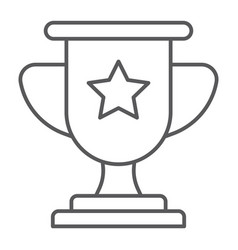 winner thin line icon game and award trophy cup vector image