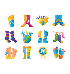 World down syndrome day support awareness pack vector