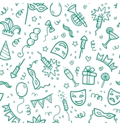 Green carnival symbols in doodle style on white vector image vector image