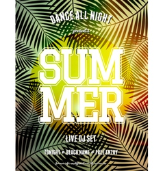 summer party palm leaves and sunlight flyer design vector image vector image
