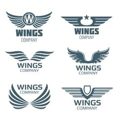 wings logo set vector image vector image