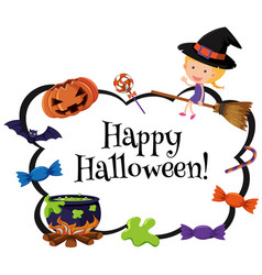 happy halloween card template with witch and candy vector image vector image