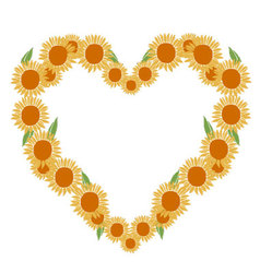 heart of sunflowers vector image vector image