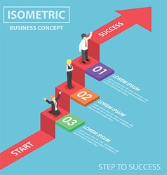 Isometric businesspeople on business graph ladder vector image