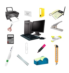 Office tools realistic icon set vector image vector image