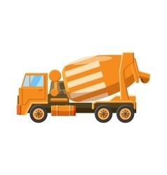 Orange truck concrete mixer icon cartoon style vector image