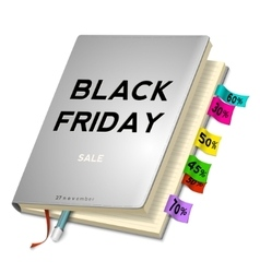 Black friday sale background with planning vector image vector image