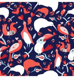 Bright floral pattern with birds vector image vector image