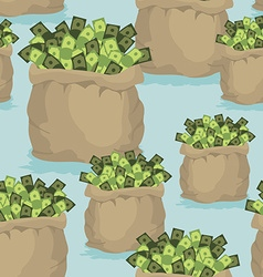 Cash bag seamless background pattern of dollars of vector