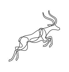 endless line art of antelope vector image