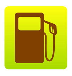 gas pump sign brown icon at green-yellow vector image